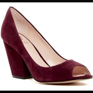 Vince Camuto Berit purple wine suede peeptoe pumps